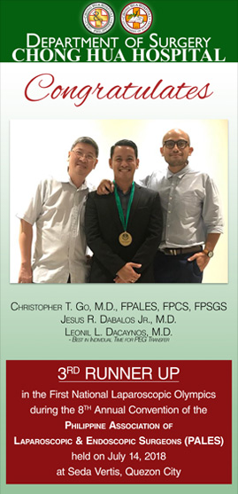 Chong Hua Hospital | Department of Surgery | First National Laparoscopic Olympics 3rd Runner Up | 8th Annual Convention of the Philippine Association of Laparoscopic & Endoscopic Surgeons (PALES)