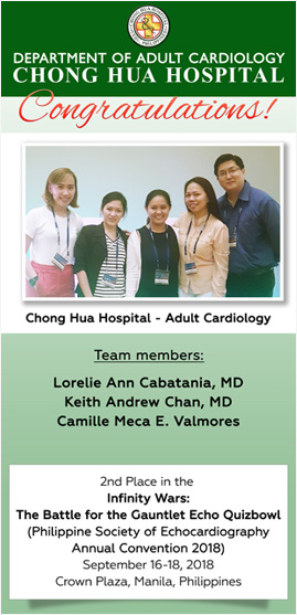 Chong Hua Hospital | Department of Adult Cardiology | 2nd Place in the Infinity Wars: The Battle for the Gauntlet Echo Quizbowl | Philippine Society of Echocardiography Annual Convention 2018, September 16 - 18, 2018 at Crown Plaza, Manila Philippines